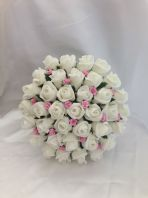 ARTIFICIAL PINK IVORY FOAM ROSE BUDS WEDDING FLOWERS BRIDES BOUQUET DIAMANTES